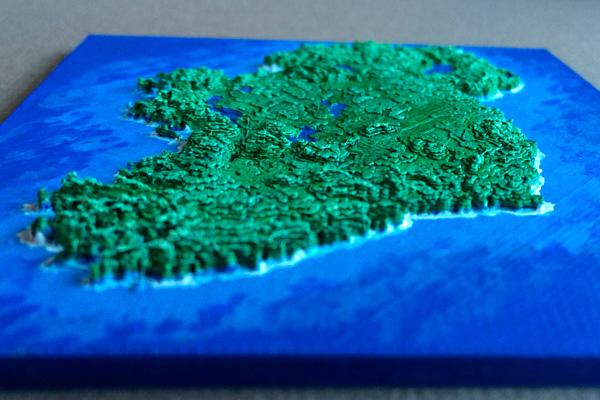 Карту Ирландии напечатали, используя общедоступные данные