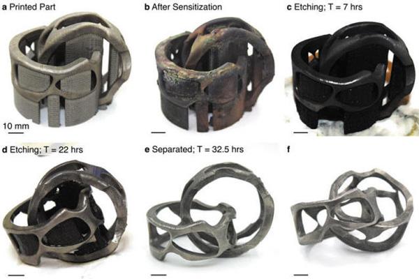 Были проведены опыты по удалению поддержки с металлических деталей
